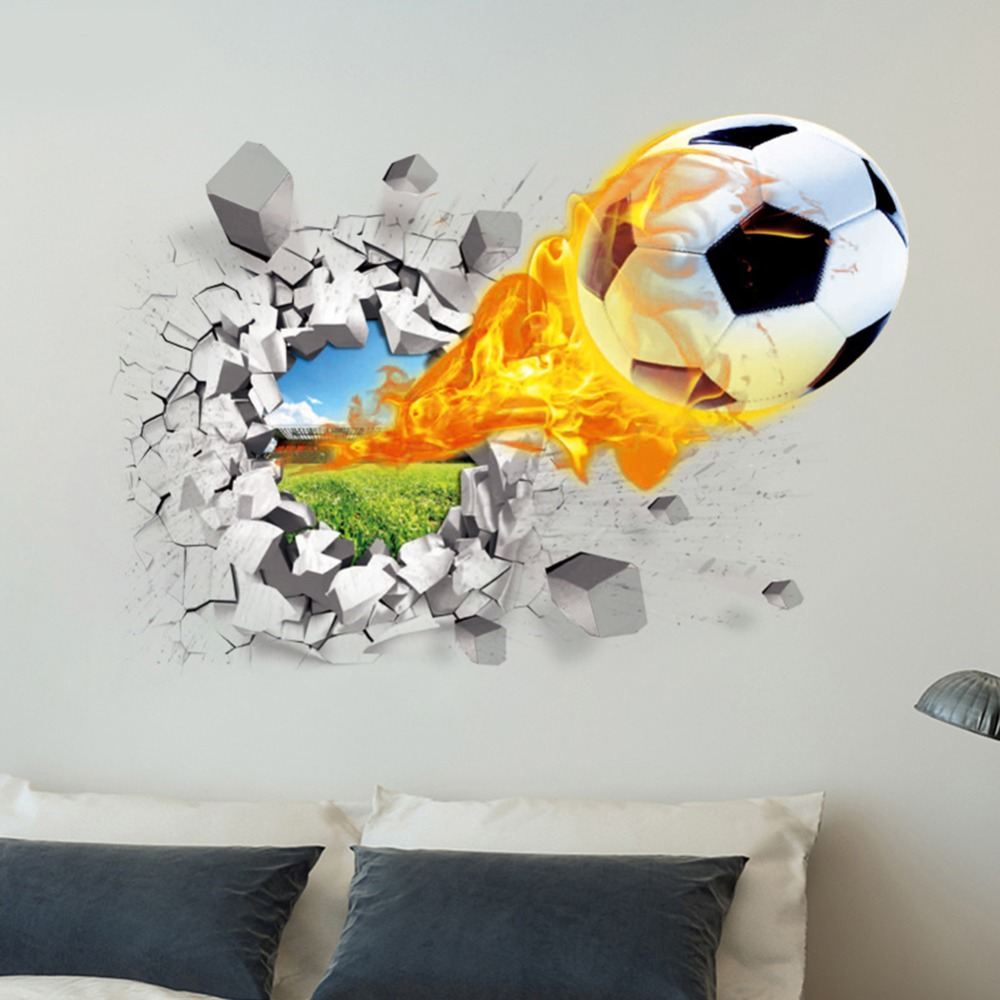 3D Football Wall Stickers Background Decor Removable DIY Stickers ...