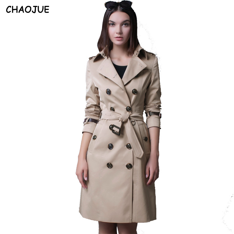 CHAOJUE New Turn Down Neck Leather Sleeve Windbreaker Female 2018 Plus Size Dust Coat Ladies Double-Breasted Beige Trench Coats