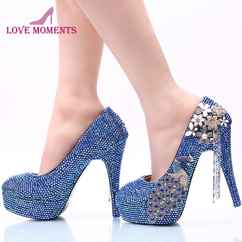 Royal Blue AB Crystal Wedding Dress Shoes with Phoenix Women High Heels for Party Rhinestone Bride Shoes Cinderella Prom Pumps hot designer wedding sandals jeweled pumps crystal covered stiletto high heels floral rhinestone bride dress shoes women