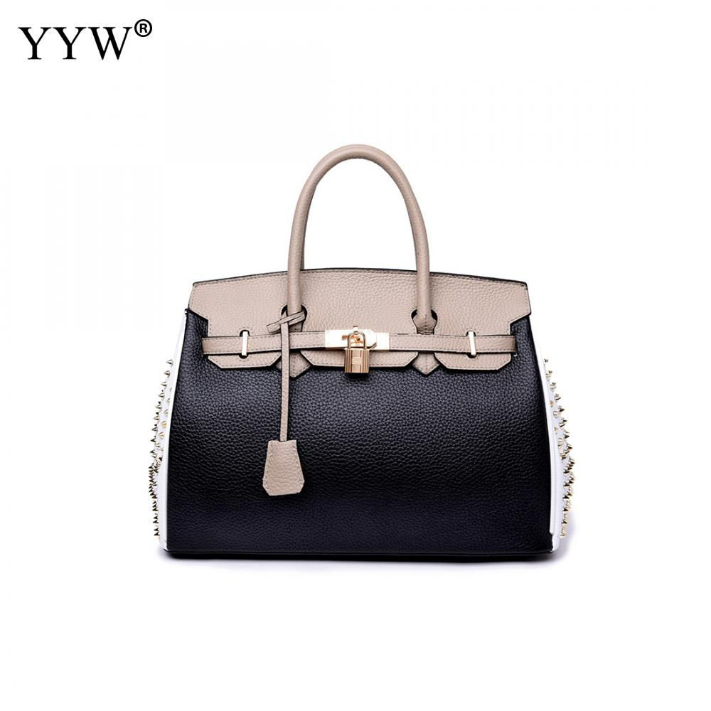 New Arrivels 2018 Brand Fashion Female Top-Handle Bag Genuine Leather Women Handbags with Rivet Famous Black Casual Tote Bag