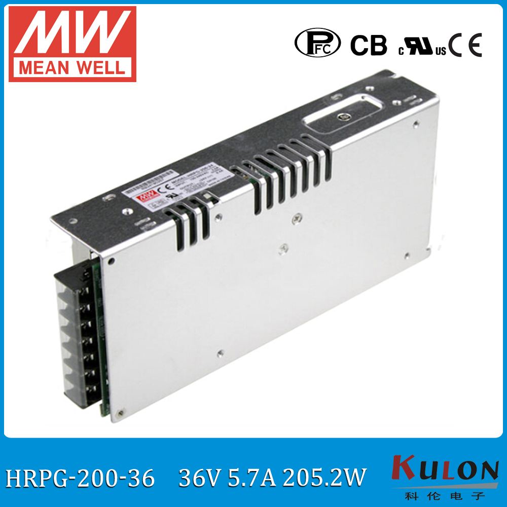 Original MEAN WELL HRPG-200-36 200W 5A 36V meanwell low power consumption power supply 36V Power unit with PFC function single output switching power supply 18v 6 6a 100 120v 200 240v ac input led power supply 120w 18v transformer