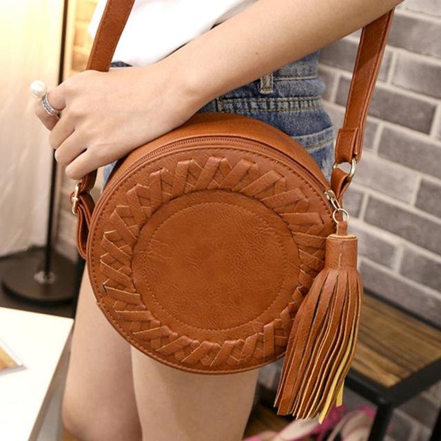 New Famous Brand Women Handbags Pu Leather Messenger Bag Circle Design Crossbody Bags Shoulder For