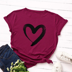 Plus Size S-5XL New Heart Print T Shirt Women 100% Cotton O Neck Short Sleeve Summer T-Shirt Tops Casual Tshirt women shirts 9