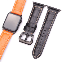 HENGRC Watchbands Thick Genuine Leather For Iwatch Apple Watch Band Strap 3 Colors Link Bracelet With