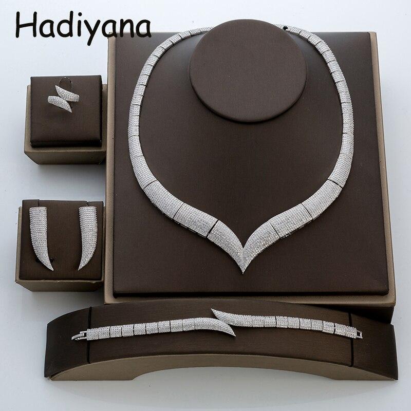 Hadiyana Luxe Corne Strass Bijoux Ensembles Avec Zircone Cubique De Mode Ensemble De Bijoux De Mariage Africain Avec Prix Usine TZ8029