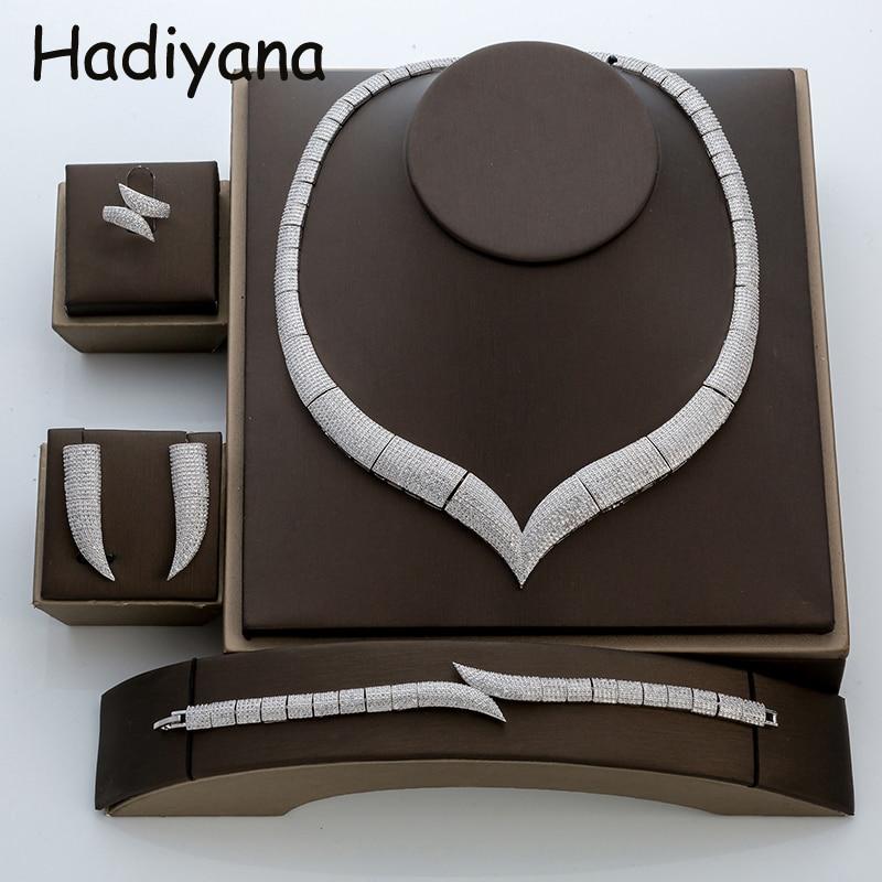Hadiyana di Lusso Corno Set di Gioielli di Strass Con Cubic Zirconia di Modo di Cerimonia Nuziale Africana Insieme Dei Monili Con Il Prezzo di Fabbrica TZ8029