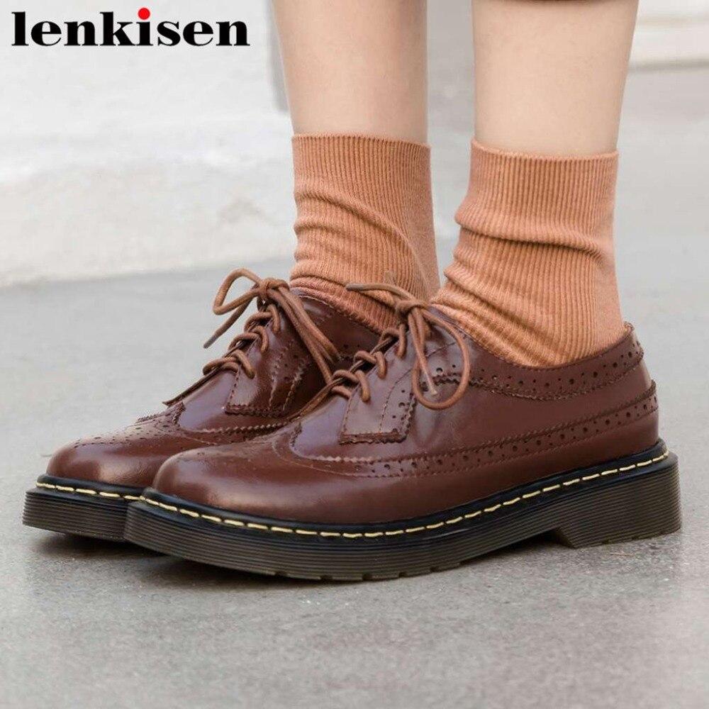 Lenkisen cuir véritable rétro britannique école bullock chaussures décontractées talons bas plate-forme à lacets trous respirants pompes de base L29