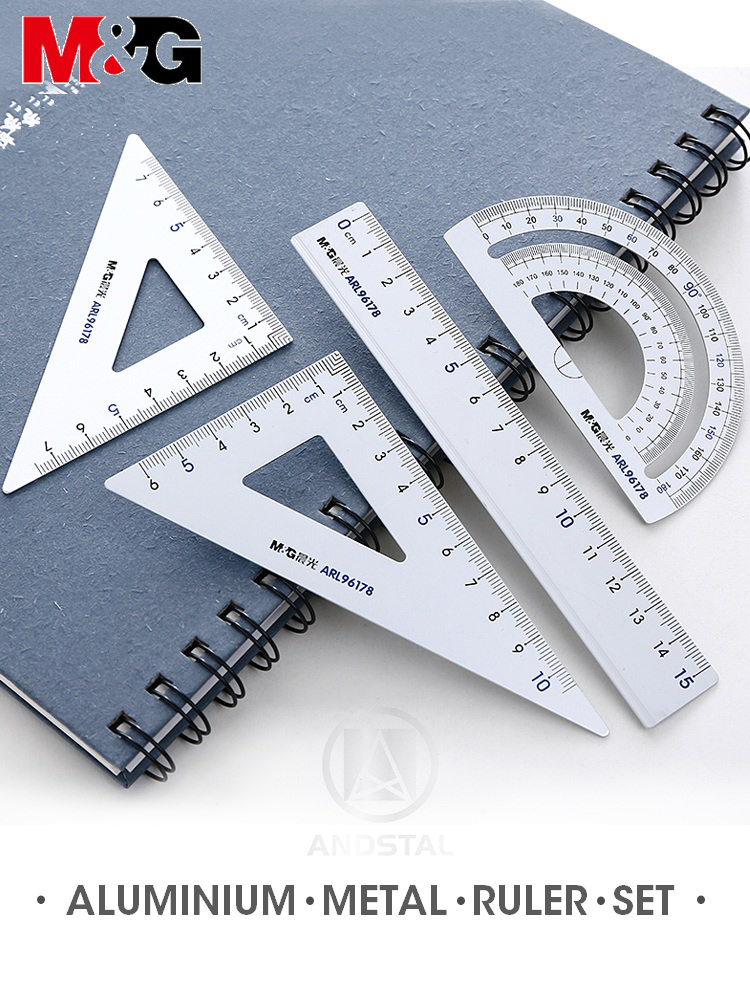 M&G Aluminium Metal Geometry Ruler Set Maths Pencil Stationery Triangular Rulers Protractor Students For School Office Supplies