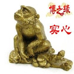 Sprzedaży Prawdziwej Czystej Technologii prezent rzemiosło dekoracji apotropeiczny znaki małpa małpa Brąz pi xiu w Posągi i rzeźby od Dom i ogród na