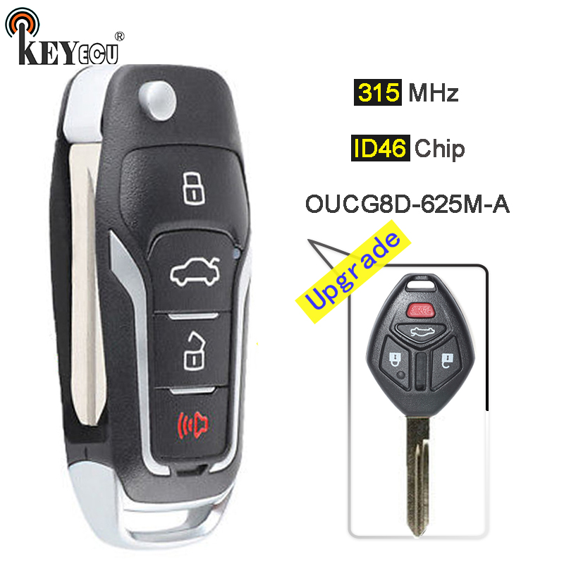KEYECU 315MHz ID46 OUCG8D-625M-A Upgraded Flip 3+1 4 Button Remote Key Fob for Mitsubishi Eclipse Galant Lancer 2007 2008