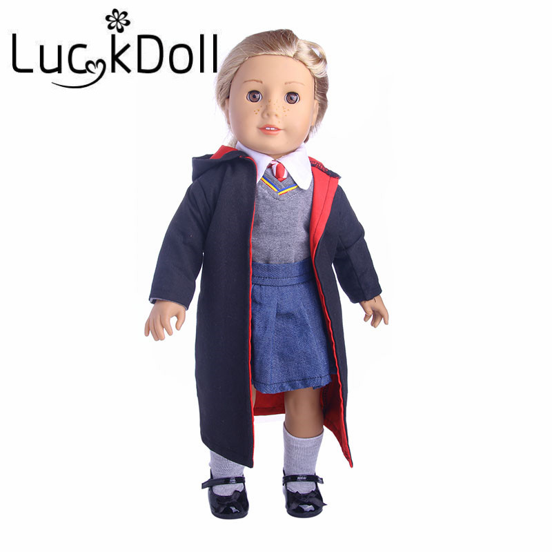 New arrivals 1set=Coat+clothes+shirt+tie+dress+socks+stick fit 18 inch American girl doll, Children best Birthday Gift
