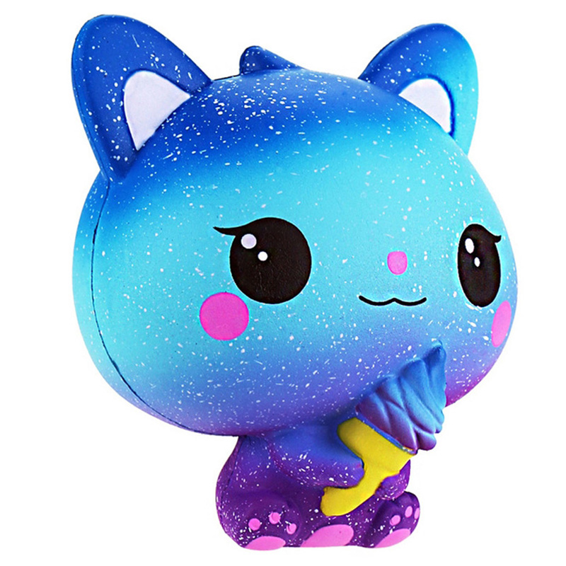 Jumbo Kawaii Ice Cream Cat Squishy PU Kitty Doll Simulated Animal Scent Slow Rising Soft Squeeze Toys Fun for Kid Xmas Gift(China)