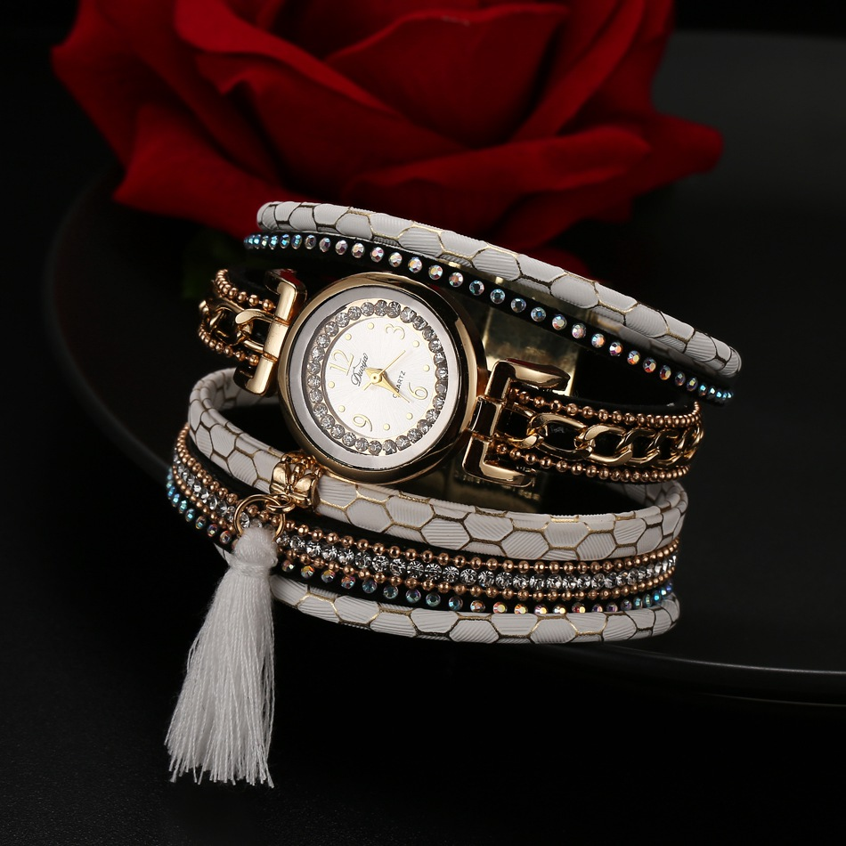 цены  Duoya New Brand Women Fashion Bracelet Watch Crystal Stone Leather Waterproof Steel Quartzwatch Rhinestone Wristwatch Tassel