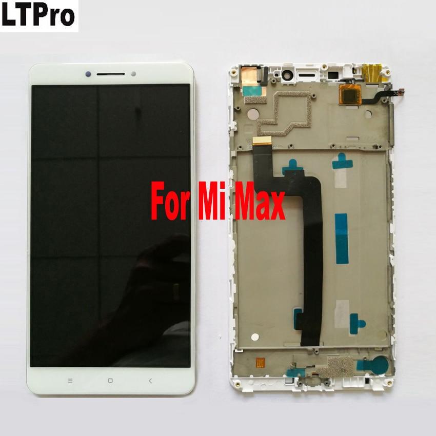 LTPro di Alta Qualità Da 6.44 Pollici bianco LCD Touch Screen Digitizer Assembly + frame Per Xiaomi Mi Max Telefono Display del Pannello di Vetro parti