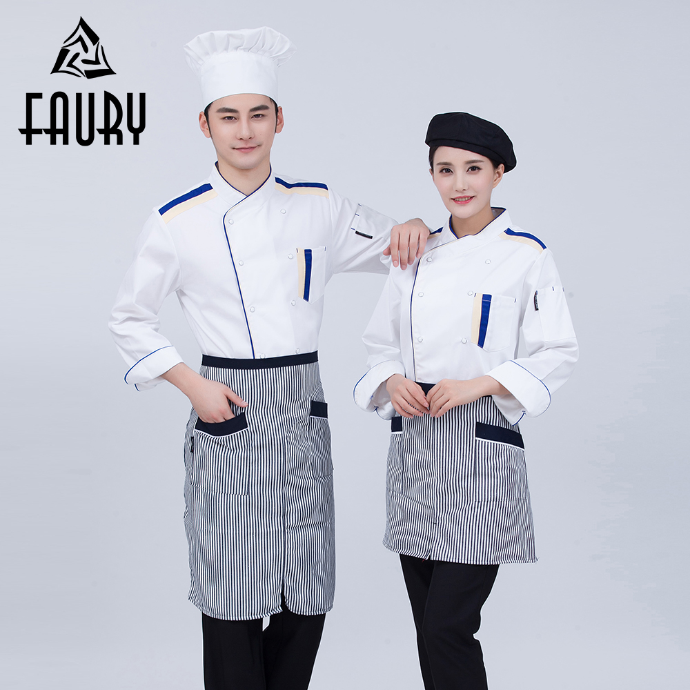 2018 New Summer Food Service Chef Uniforms Long Sleeve Double Breasted Restaurant Cook Work Wear Hotel Waiter Tops Jackets XXXL