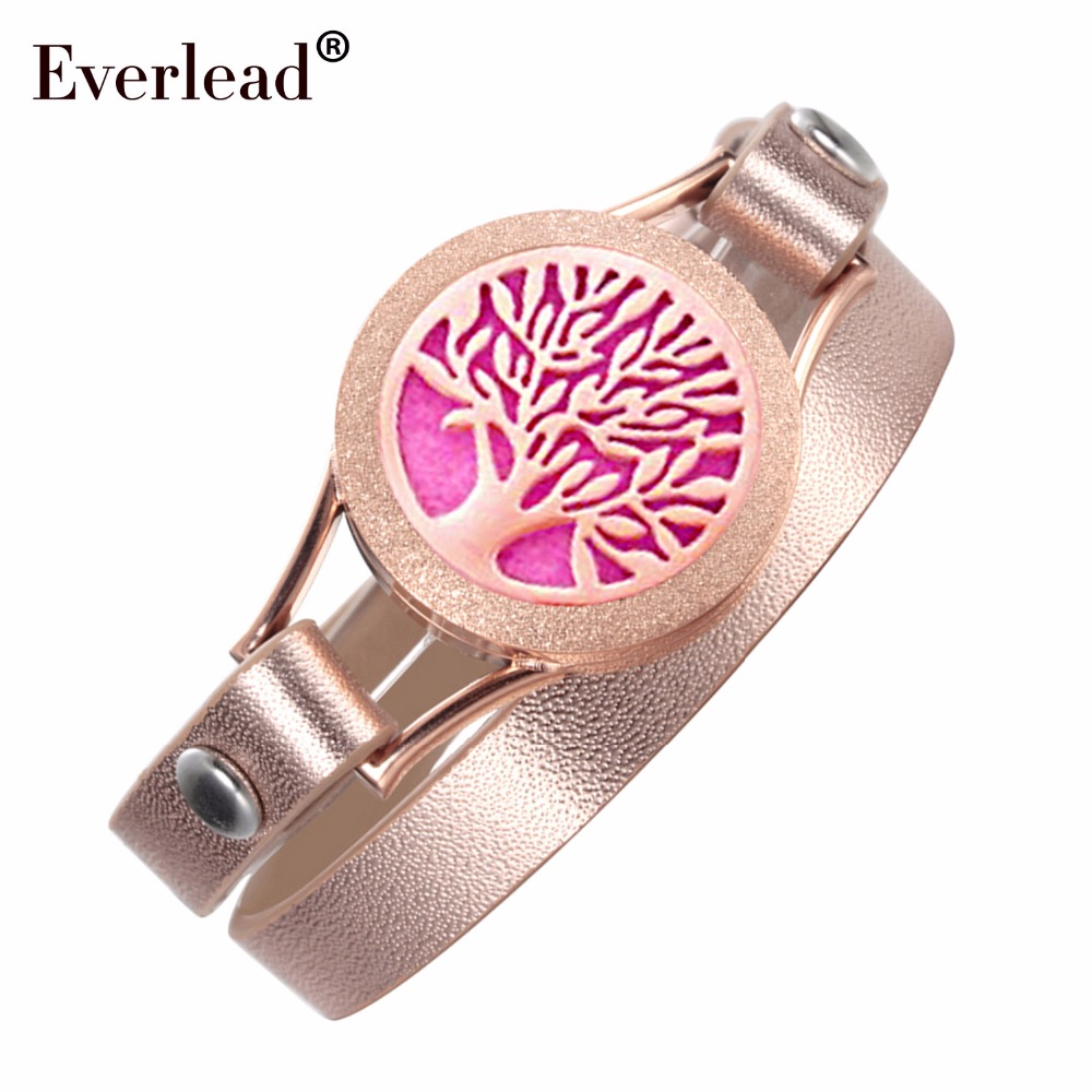 EVERLEAD Wrap Double Leather Bracelets for Women Tree of Life Rose Gold Color Wellness Diffuser Oils Work 25mm Locket Bracelet цена