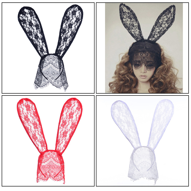 Купить с кэшбэком 1PC Rabbit Ear Headband Sexy Lace Hair Band Headwear Women Hair Accessories Bunny Ears Girl Hair Hoop Halloween Mask Dance Party