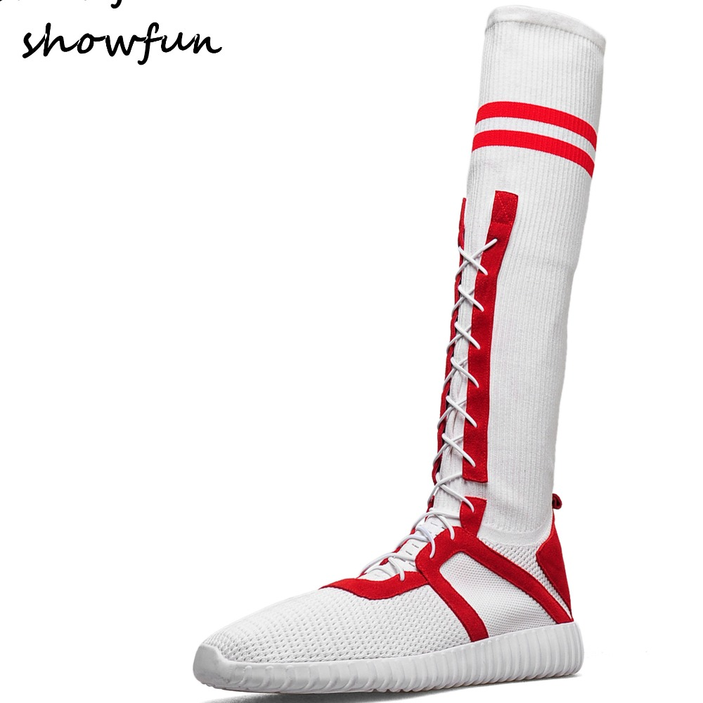 Womens genuine leather mesh patchwork lace-up slip-on flats long knee high boots brand designer lesiure comfort sneakers shoes