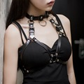 Seyx women leather harness gothic punk mental rock suspender garter for bdsm body bondage great for lingerie accessroy