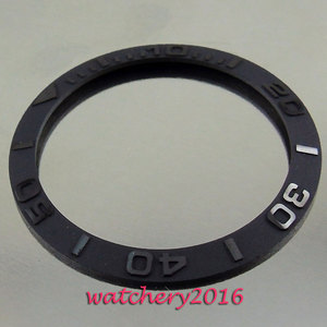 Image 1 - 38mm new high quality Brushed black ceramic bezel insert watch fit automatic movement Mens watch bezel