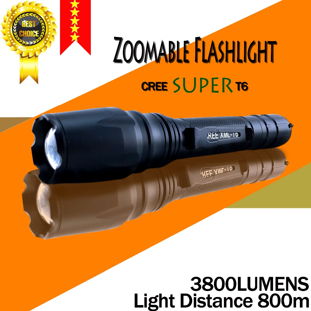 Free shipping E17 CREE SUPER XM-L T6 3800Lumens cree led Torch Aluminum Zoomable cree LED Flashlight Torch light For 2×18650
