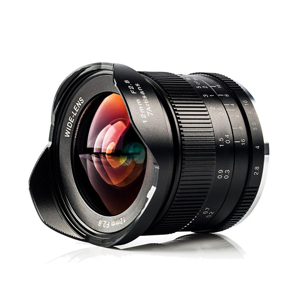 7 artesãos 12mm F2.8 Ultra Grande Angular Foco Manual Lente para Canon EOS-M Mount/Sony E Mount A6500 a7 A7RII/Fuji X-T2/M4/3 Câmera