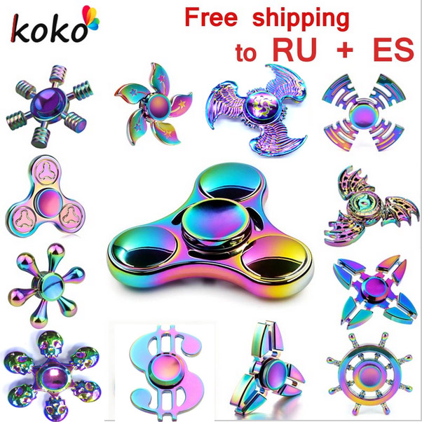 Rainbow brass Fidget Spinner Finger ABS EDC Hand Spinner Tri For Kids Autism ADHD Anxiety Stress Relief Focus  gift Toys fidget spinner led light finger plastic abs edc hand spinner for autism and adhd relief focus anxiety stress wheel toys gift