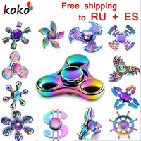 Rainbow brass Fidget Spinner Finger ABS EDC Hand Spinner Tri For Kids Autism ADHD Anxiety Stress Relief Focus gift Toys