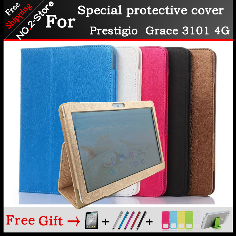 Fashion 2 fold Folio PU Leathet stand cover case for Prestigio Multipad Grace 3101 PMT3101_4G_D 10.1 inch Tablet 6 colors fashion 2 fold folio pu leather stand cover case for digma citi 1508 4g 10 1 tablet pc colorful color have in stock
