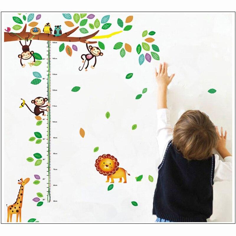 Cartoon Giraffe Monkey Δέντρα ύψος αυτοκόλλητο - Διακόσμηση σπιτιού - Φωτογραφία 3