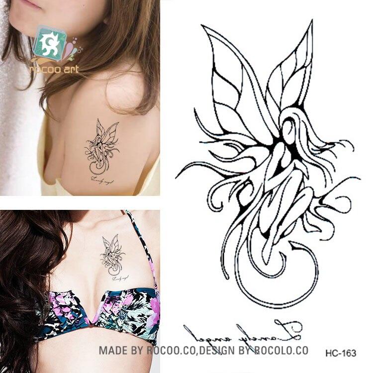 Rocooart HC151-175 Waterproof Fake Tattoo Styling Tools Stickers Snake Pistol Black Feather Temporary Tattoos Body Art Tattoo 19