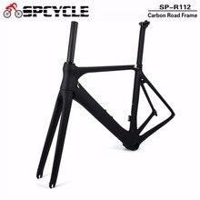 Spcycle полностью из углеродного волокна, рамы дорожного велосипеда, 700C Аэро Велоспорт гоночный дорожный велосипедные рамы из углеродного волокна фреймов BB86 50/53/55 см