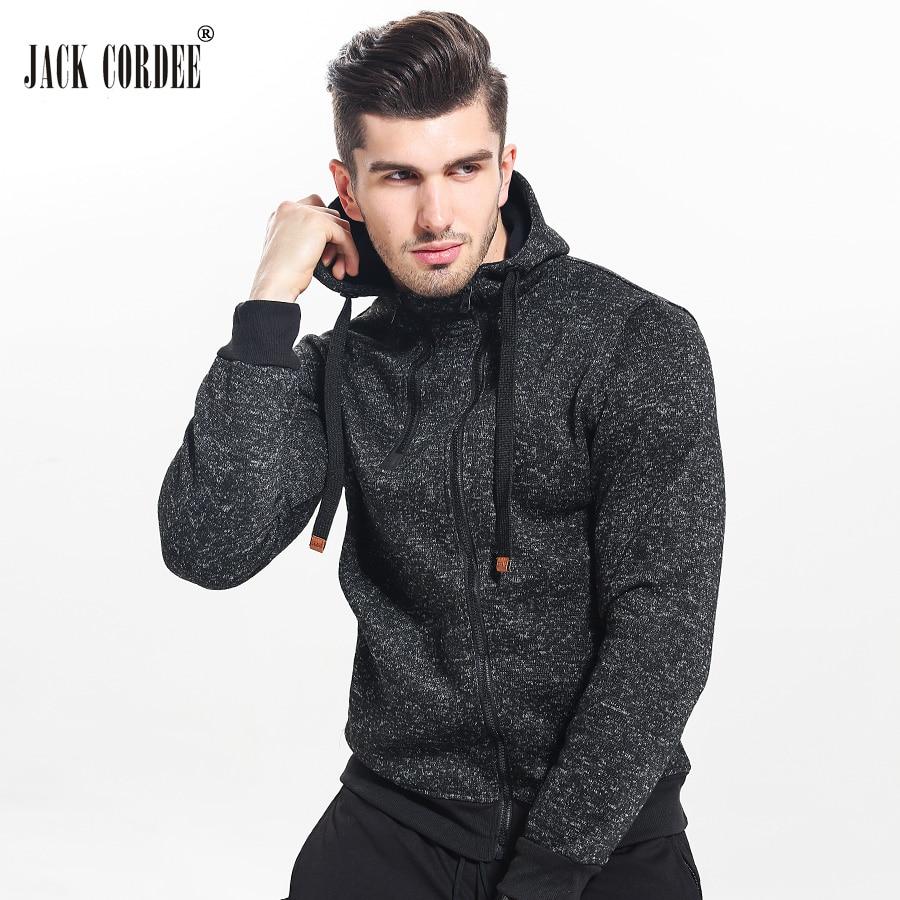 JACK CORDEE New 2017 Autumn Winter Fashion Hoodies Men Double Zipper Slim Sweatshirts Male Solid Casual Hooded Jacket