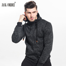 JACK CORDEE New 2017 Autumn Winter Fashion Hoodies Men Double Zipper Slim Sweatshirts Male Solid Casual Hooded Jacket(China)