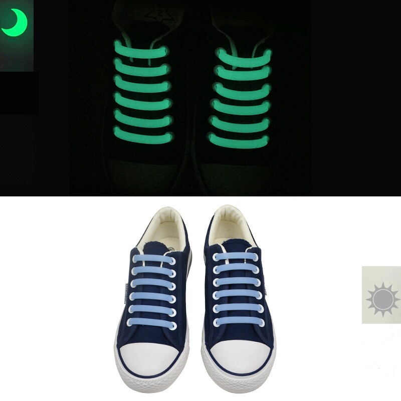 12 Pcs/Set Silicone Light Up Fashion  Luminous Shoelaces Flash Party Glowing Shoe Lace Shoestrings Lazy No Tie Shoeslace L4