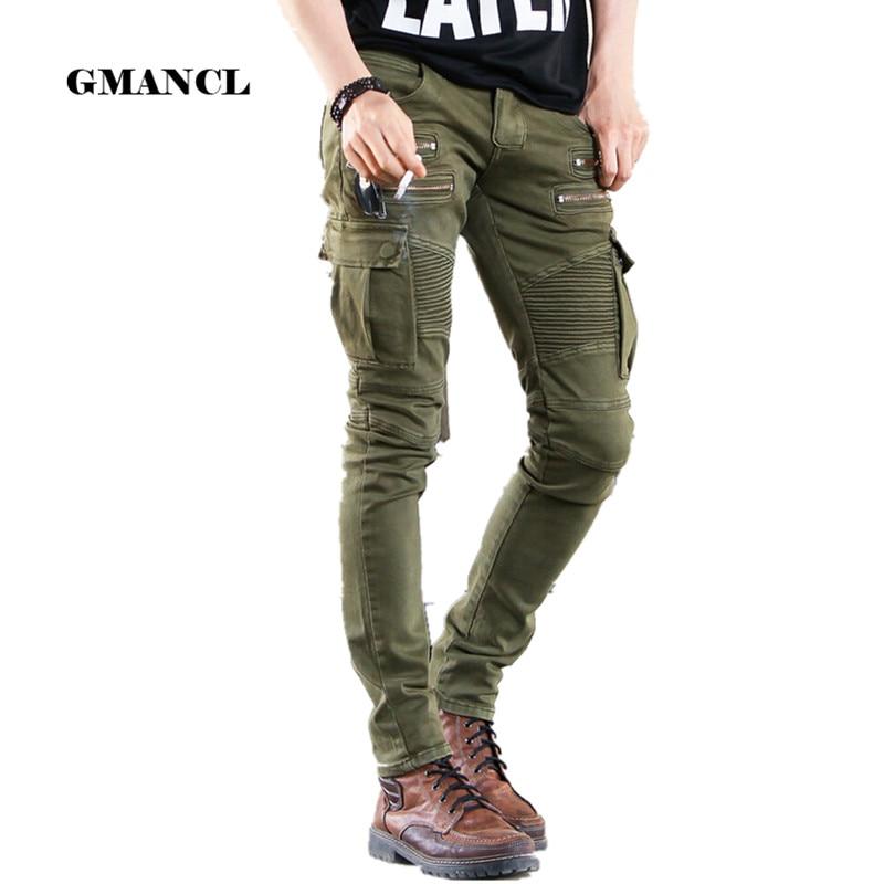 Green Black Denim Biker Jeans Men Skinny New Runway Distressed Slim Elastic Homme Hip Hop Military Motorcycle Cargo Pants