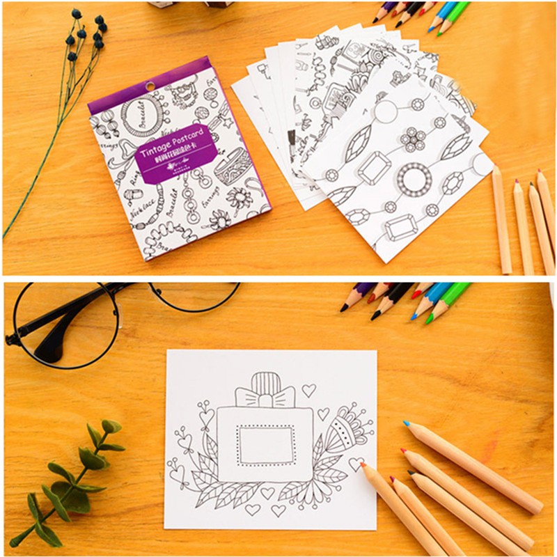 Aliexpress Buy Adult Children Stress Reliever Tool DIY Postcard Korean Fashion Garden Hand Painted Coloring Book Colouring Cards From Reliable Card