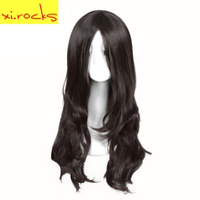 3126 Xi. Rocks Long Dark Brown Curly Wigs For Women Microvolume Synthetic Hair Miss High Temperature Fiber Party