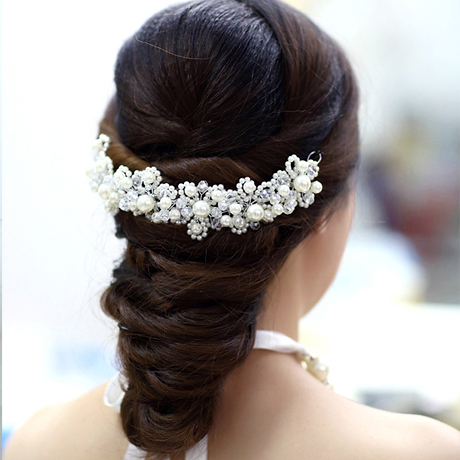 Freeshipping HAndmade White Red Beaded Bride Hair Accessories Girls Wedding Pearl Jewelry In From On