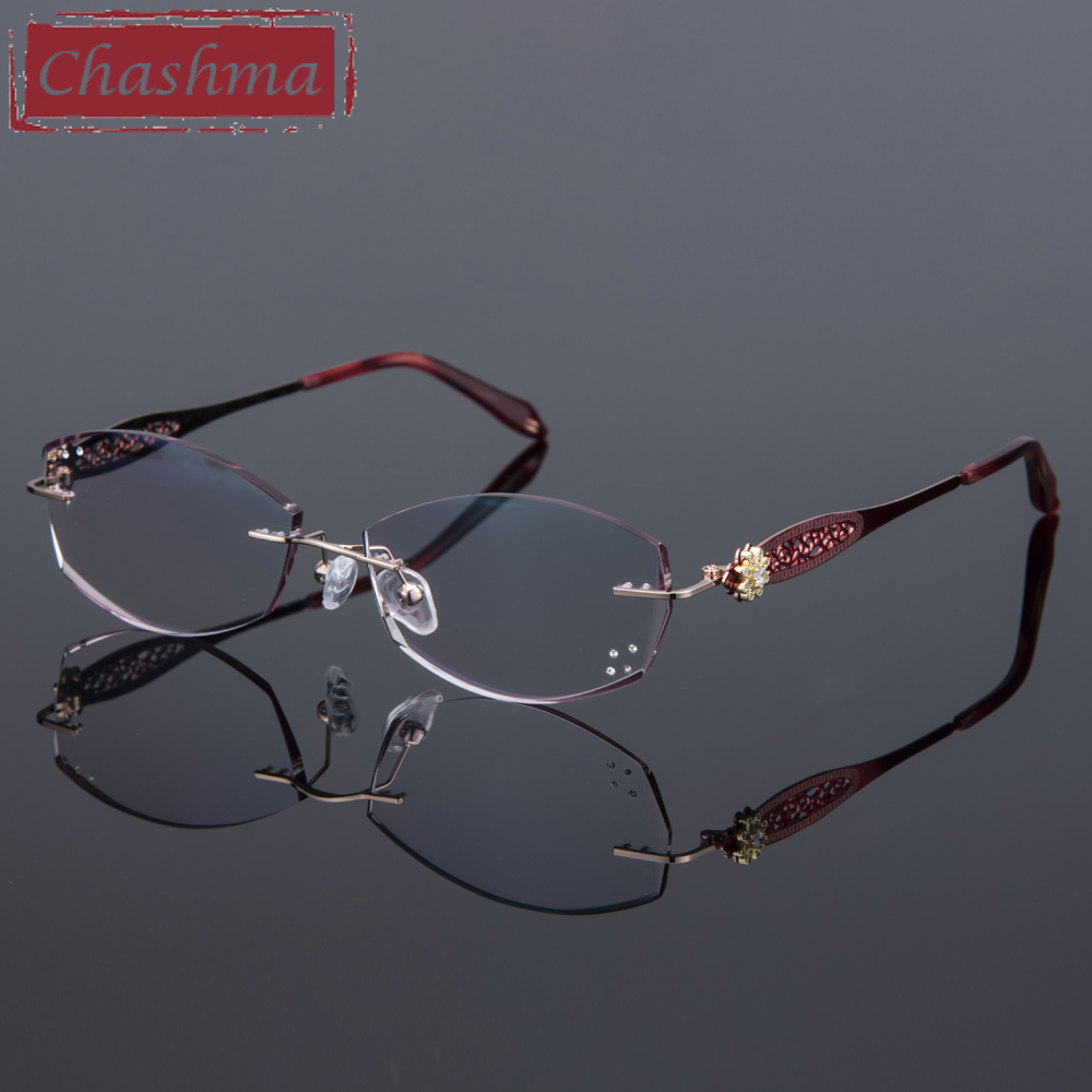 Rimless Luxurious Colored Ready Reading Glasses Myopia Degree Eyeglasses Women Fashion Tint Lenses with Diamond Clear