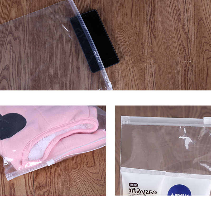 15pcs/lot Clear Plastic Storage Bag Ziplock Travel Bags Zip Lock Valve Slide Seal Packing Pouch For Cosmetic Clothing PE Bag