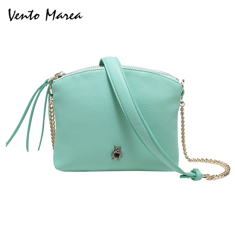 Vento Marea Women PU Leather Shoulder Bag Women'S Chain Strap Crossbody Bag Fashion Ladies Bag Female Messenger Bag fashion new design pu leather lotus wave female chain purse shoulder bag handbag ladies crossbody messenger bag women s flap
