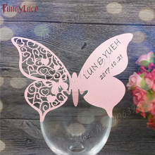 100X Wedding place cards,wedding table mark wine glass card, laser cut name card butterfly Favor can be customized