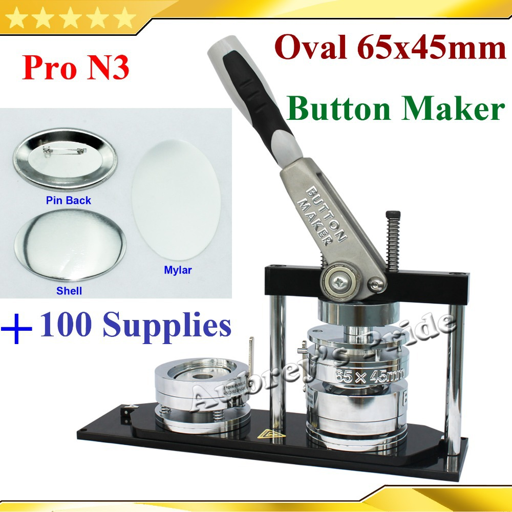 US $284 9 5% OFF|Pro N3 NEW Oval 45x65mm Badge Button Maker Machine +100  Sets Metal Pinback Button Supplies-in Package from Home & Garden on