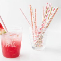 100pcs Gold Pink Silver Striped Paper Straws For Birthday Wedding Decorative Party Event Supplies Creative Drinking