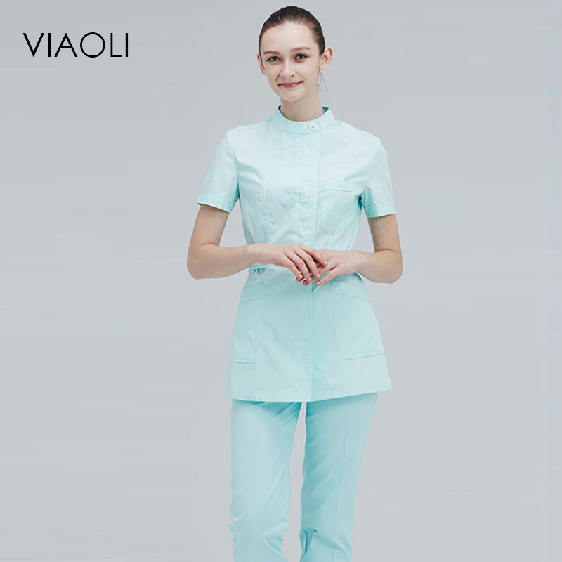 Viaoli Short Sleeve Round Neck  Women Medical Coat  Uniform Medical Lab Coat Hospital Doctor Slim Multiple Colour Pants+shirt