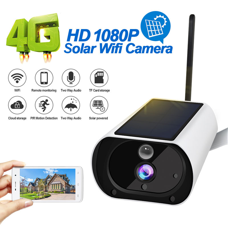 4G Solar Battery Powered IP Camera IP67 Waterproof  Outdoor 1080P Wireless Surveillance Security Cloud Storage
