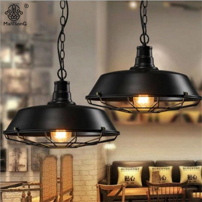 Vintage Creative Pendant Lamp Industrial Black E27 Rusty Retro Hanging Lights Personality Loft For Bar Cafe Restaurant Lighting retro industry country vintage linen glass ball pendant lights creative personality restaurant bar cafe linen pendant lamp zzp