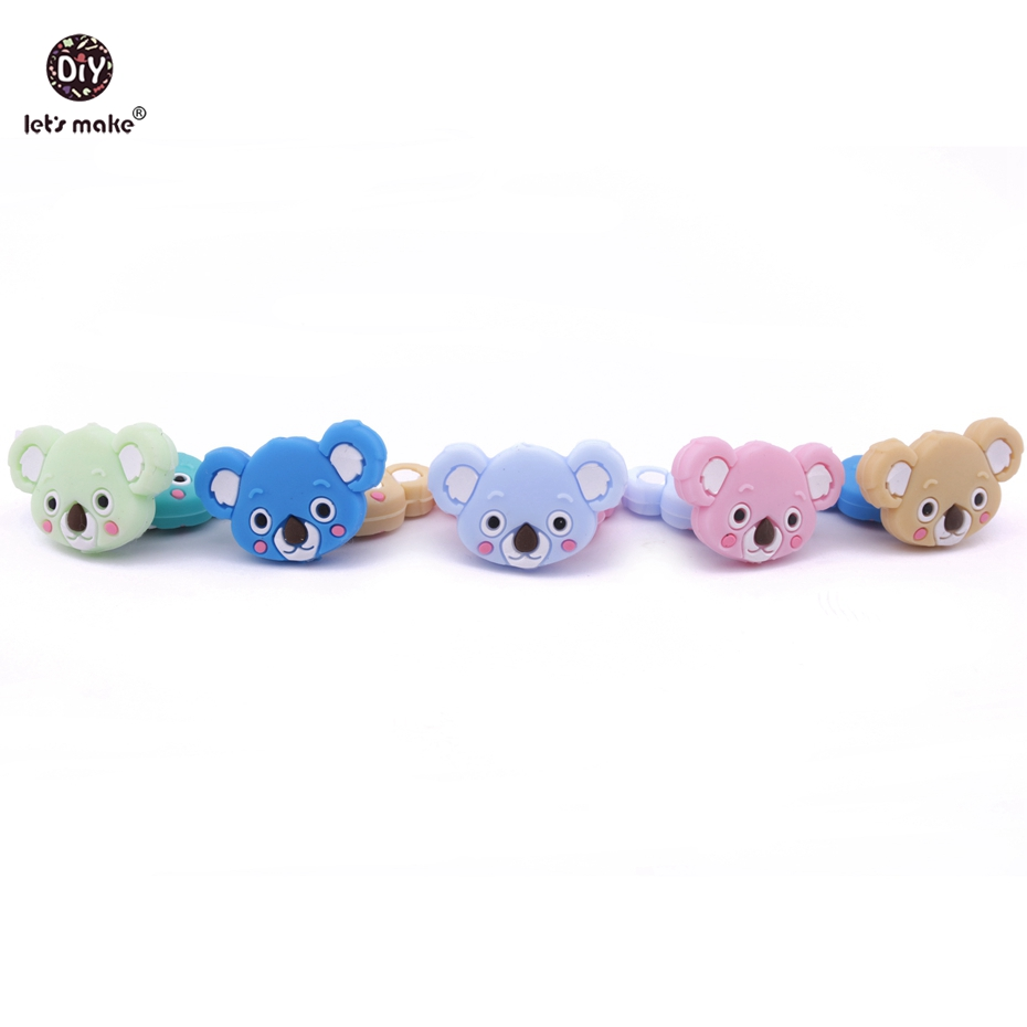 Let s Make Baby 200pcs Wholesale Nursing Silicone Accessories Koala Bead Teether DIY Jewelry Teething Necklace