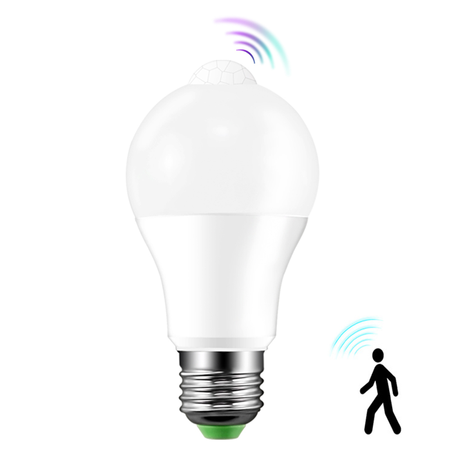 E27 LED Bulb with Motion Sensor LED Lampada B22 LED Lamp E27 220V 110V Cold/Warm White Led Spotlight 12W 18W Led Light Bulb